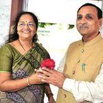 Vijay Rupani with her wife Anjali