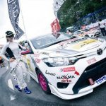 Alisha Abdullah in a car race