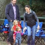 Ben Affleck with his wife and daughters
