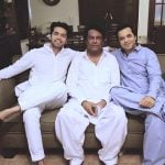 Fahad Mustafa with his father and brother