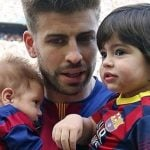 Gerard pique with his children Milan and Shasa