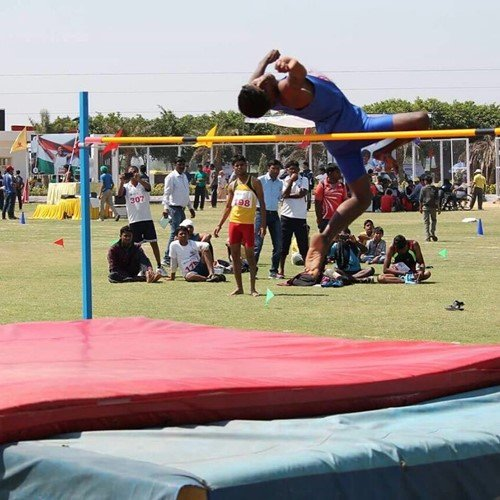 Mariyappan during his early days of high jump practice