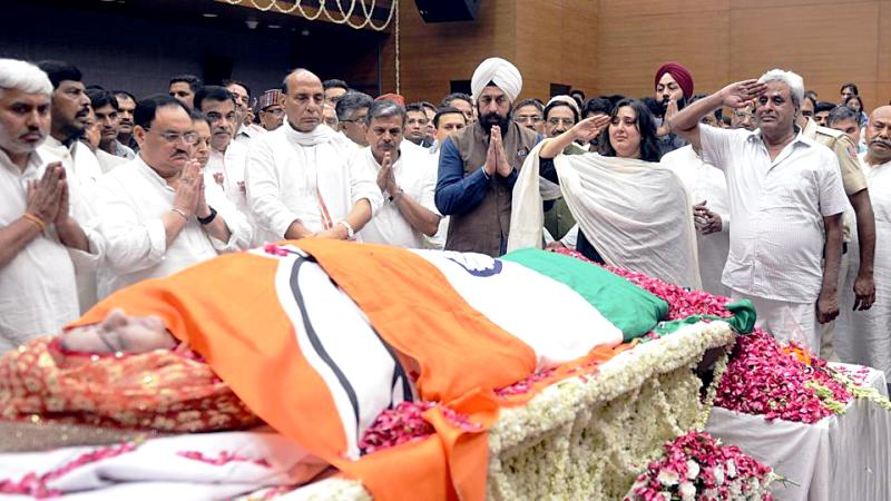 Mortal Remains of Sushma Swaraj at the BJP Headquarters