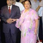 Mukesh Ambani with his mother Kokilaben Ambani