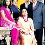 Mukesh Ambani with his wife and children