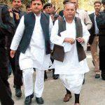 Mulayam Singh Yadav with his son Akhilesh Yadav
