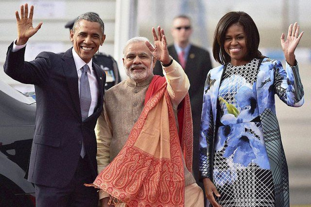 Narendra Modi with Barack Obama and Michelle Obama