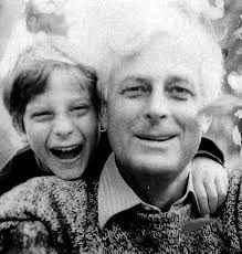 Childhood photo of Bear Grylls with his father, Sir michael Grylls