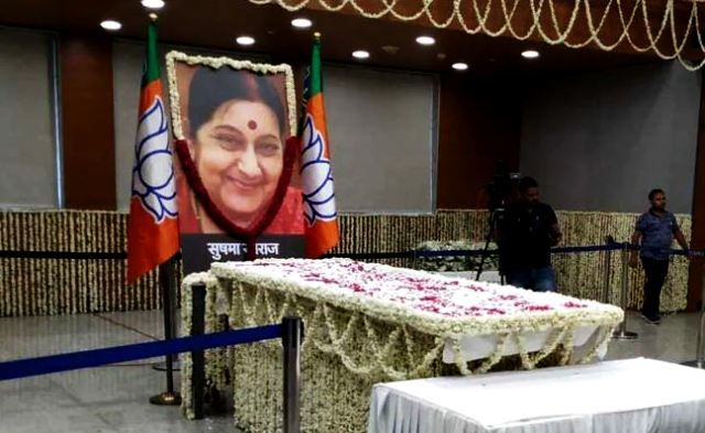 Sushma Swaraj's Body at BJP Headquarters