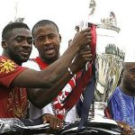 Yaya Toure with his brother kolo(left) and father Mory(right)
