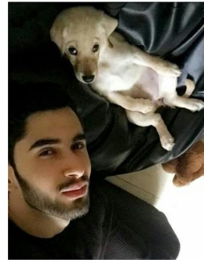 Laksh Lalwani with his pet dog