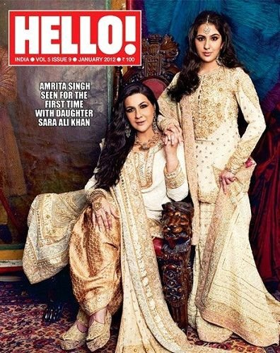 Sara Ali Khan with her mother 'Amrita Singh' on the 'Hello' magazine cover