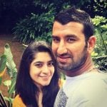 Cheteshwar Pujara with wife Puja