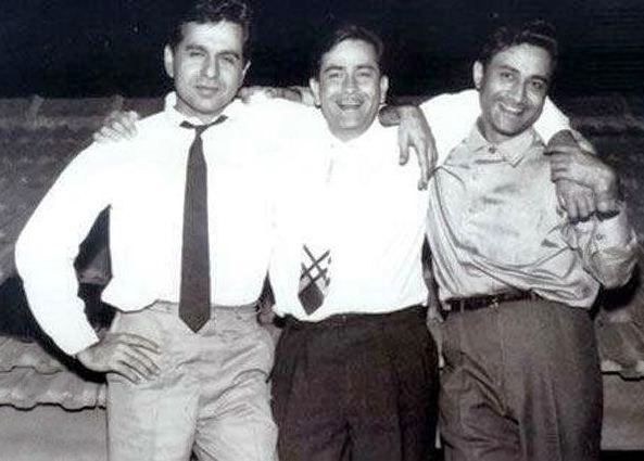 Dilip Kumar (left), Raj Kapoor (centre), and Dev Anand (right)