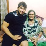 Pawan Kumar with his mother