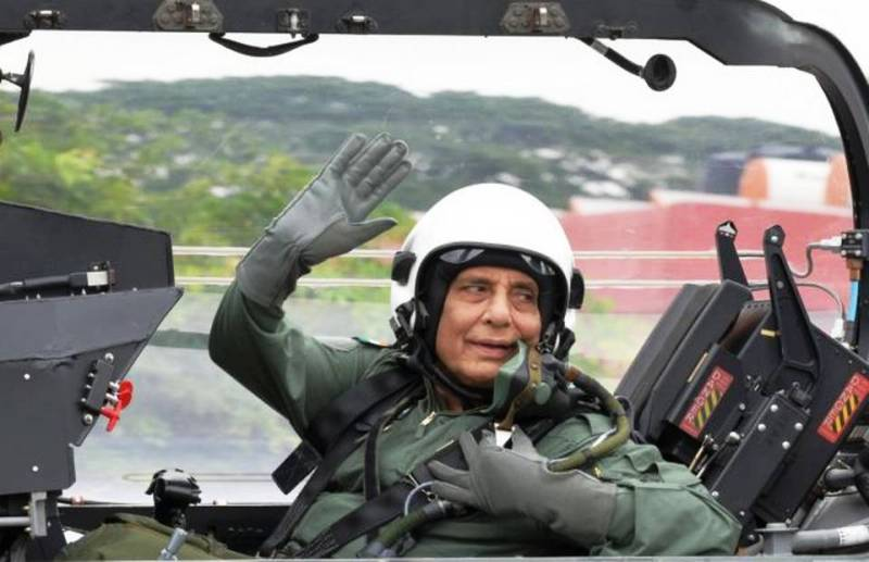 Rajnath Singh taking a sortie on India's indigenously built Light Combat Aircraft (LCA) Tejas, at the HAL airport in Bengaluru