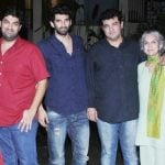 Aditya Roy Kapur with His mother, and Brothers Siddharth Roy Kapur (right), and Kunaal Roy Kapur (brother)