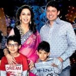 Madhuri Dixit with her children and husband