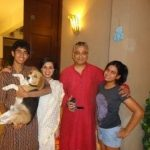 Raajdeep Sardesai with his Wife and Children