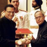 Rajat Sharma receiving Padma Bhusan