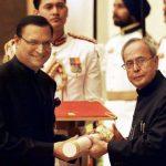 Rajat Sharma receiving Padma Bhusan