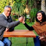Rajdeep with his wife Sagarika Ghose