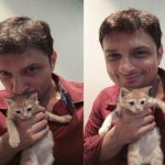Rushad Rana with his cat