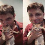 Rushad Rana with his cat