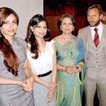 Soha Ali Khan with her mother, brother and sister