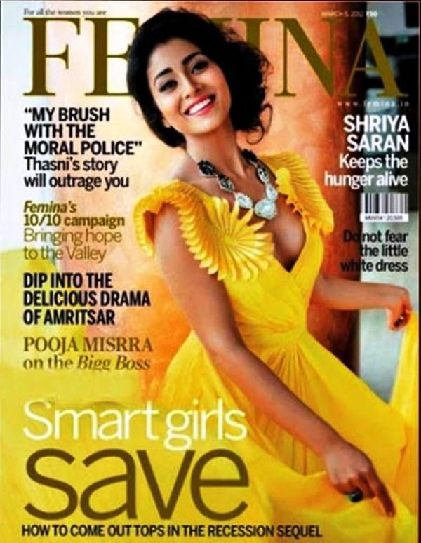 Shriya Saran Featured on the Cover of Femina Magazine