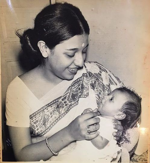 Baby Zoya Akhtar in the lap of her mother