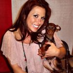 Mickie James with her pet dog