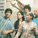Naseeruddin Shah with present wife Ratna, daughter Heeba and sons