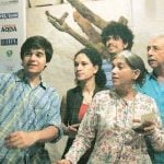 Heeba Shah with father Naseerudin, step mother Ratna Pathak & half brothers Imaad & Vivaan