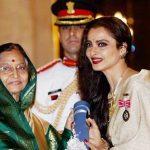 Rekha receiving Padma Shri