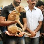 Sathyaraj adopted a stray dog