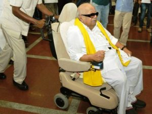 M Karunanidhi On WheelChair