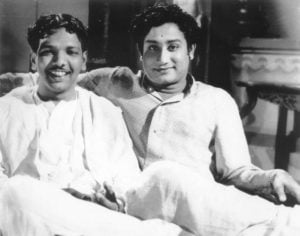 M Karunanidhi (left) And Sivaji Ganeshan (right)