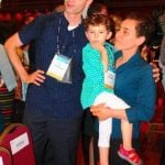 Maryam Mirzakhani with her husband and daughter