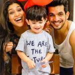 Arjun Bijlani with his son Ayaan and wife Neha Swami