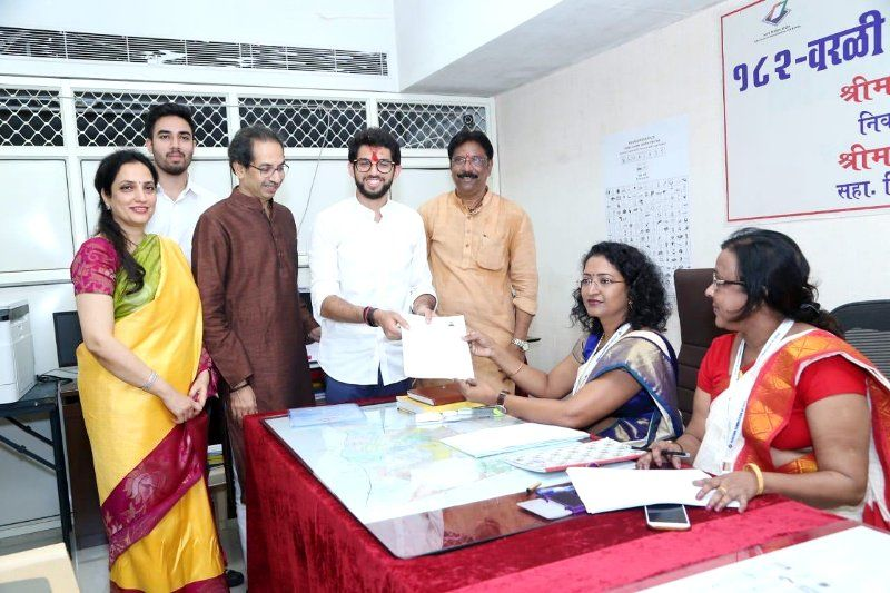 Aditya Thackeray filing his nomination papers with his parents