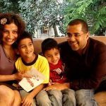 Chetan Bhagat with his wife Anusha and sons Ishaan (left), Shyam (right)