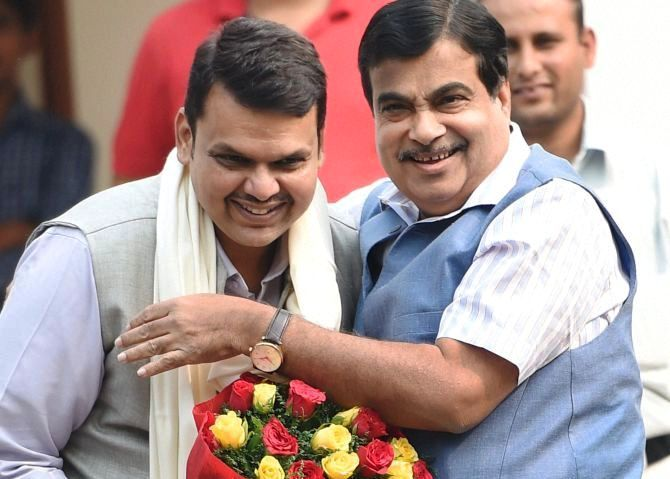 Devendra Fadnavis with Nitin Gadkari
