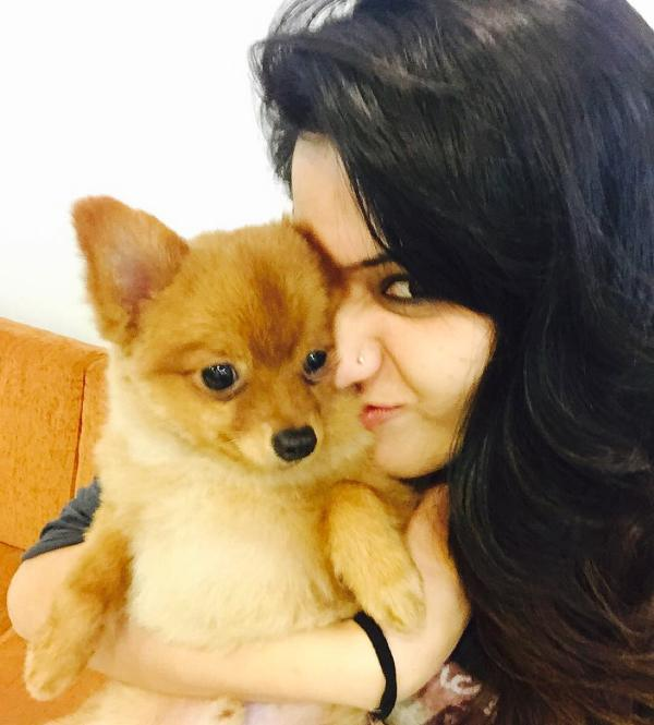 Isha Rikhi with her pet