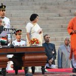 Manoj Sinha taking oath as Minister of State for Railway Ministry