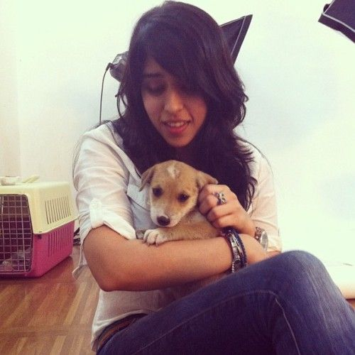 Ritika Sajdeh Playing With Her Pet Dog