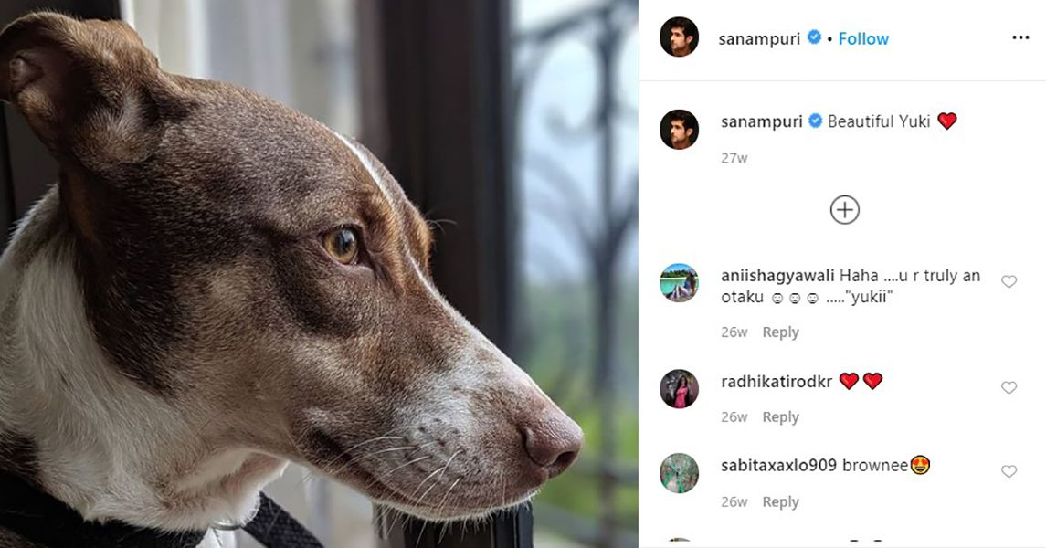 Sanam Puri's Instagram Post About his Dog Yuki