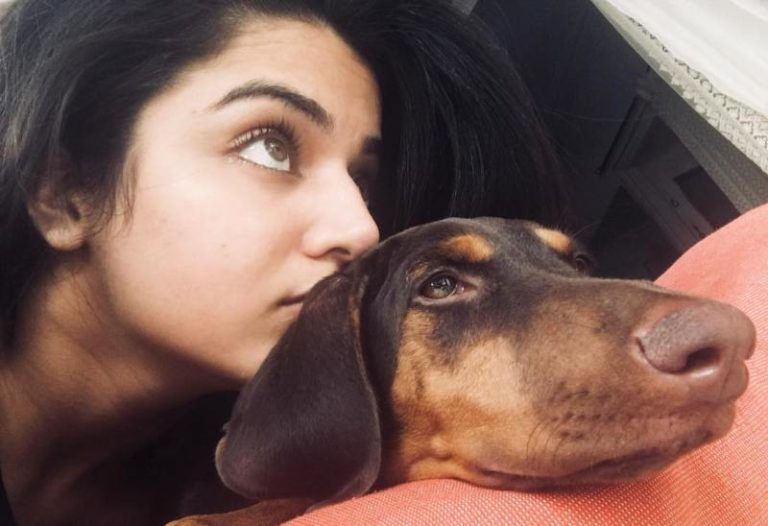 Wamiqa Gabbi with her pet dog