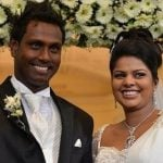 Angelo Mathews with his wife