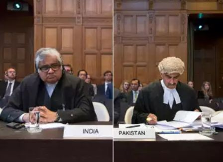 Harish Salve and Khawar Qureshi at the ICJ